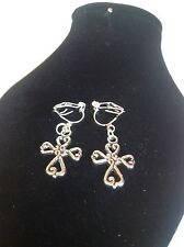 Cross clip on earrings