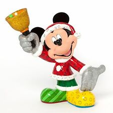 """Disney Britto Santa Mickey Mouse with Bell Holiday Christmas 8"""" Figurine 4039134"""