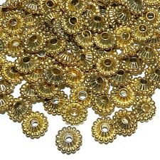 MB547p Antiqued Gold 11mm Dotted Corrugated Rondelle Bicone Metal Bead 20/pkg