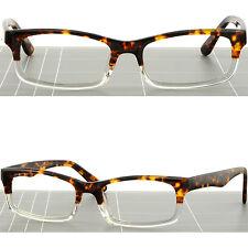 Rectangle Men Women Acetate Frame Spring Load Prescription Glasses Tortoiseshell
