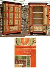 Handcrafted German Vintage Antique Style Wooden Cabinet with Hand Painted Detail