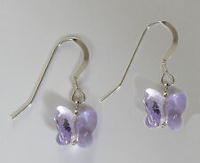 925 Sterling Silver Earrings with Swarovski Elements Violet Crystal Butterfly