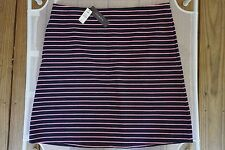 TALBOTS NWT $69.50 COTTON NAVY/PINK STRIPED OTTOMAN-KNIT A-LINE SKIRT SIZE 12