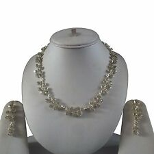 SILVER CLEAR INDIAN COSTUME JEWELLERY NECKLACE EARRINGS CRYSTAL SET BRIDAL NEW 4