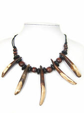 Tribal Style Wild Boar Tooth Tusk Charm Amulet Pendant Necklace Adjustable