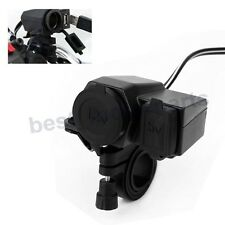 WATERPROOF 12V 2.1A MOTORCYCLE HANDLEBAR USB OUTLET CHARGER FOR PHONE GPS BLACK