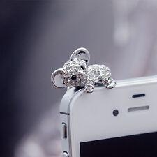 Cellphone 3.5MM Silver Koala Crystal Ear Cap Anti Dust Jack Plug Stopper