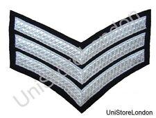 CHEVRON SERGEANT STRIPES Silver Black  150mm 3 Bars WIDE R885