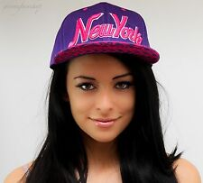 NY snapback caps, hip hop baseball flat peak fitted hats, unisex bling purple
