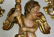 18th C Carved Wood Creche Angel Cherub Putti Pricket Candle Holder Figurine