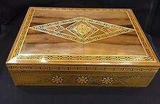 A SYRIAN Moorish Wood Jewelry Box Inlaid With Mixed Color Wood Mosaic
