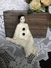 ANTIQUE Vintage Ceramic Harlequin Pierrot figurine