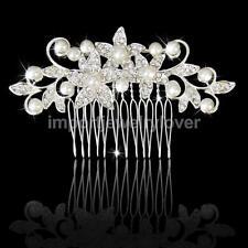 Wedding Hair Comb Headpiece Pearl Floral Crystal Rhinestone Bridal Prom