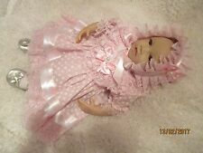 HANDMADE CLOTHES FOR BABY 3-6mths /REBORN / doll 22 PINK DAISY DRESS SET NEW