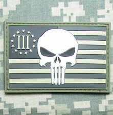 USA PUNISHER 3 PERCENTER ACU FLAG RUBBER PVC GLOW PATCH W VELCRO® BRAND FASTENER