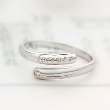 """Shiny 925 Sterling Silver PL """"forever"""" & CZ Adjustable Open Ring / Pinkie Ring"""