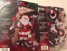 Bucilla OOP Christmas Felt Kit Lot SPORTS SANTA Stocking and Matching Ornaments!