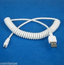 Fast Charger ONLY Coiled USB Cable WHITE for LG G Pad F 8.0 7.0 X8.3 10.1 8.3