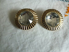 """Collectible Clip Earrings Gold Tone Clear Rhinestones Signed ANCER  1 1/8"""""""