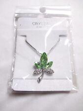 RASTA WEED Pot LEAF Ganja Marijuana Necklace Green Crystal Rhinestone Silvertone