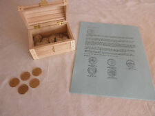 Wooden Chest Full of 50 State Quarters, 10 Page Trivia/Facts Coin Collection