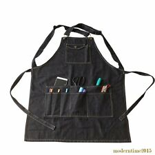 Fashion Black Cotton Denim Apron Cooking Apron With Pocket Strap For Barber Chef