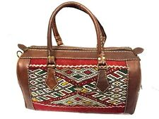 Morocco 100% Leather Duffle Bag Handsewn Kilim Wool Rugged bag Weekend Luggage
