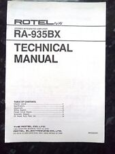 ROTEL TECHNICAL (service) MANUAL for RA-935BX Stereo Integrated Amplifier