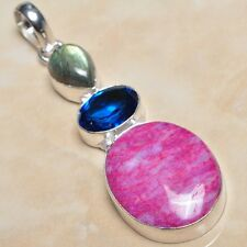"Handmade Cherry Ruby Natural Gemstone 925 Sterling Silver Pendant 2.75"" #P03031"