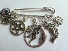 MOON GODDESS LUNA PENTACLE NYMPH Antique Silver Tone Kilt Pin Brooch Pagan Gift