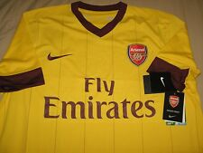 Nike Dri Fit Arsenal Yellow Away Jersey for 2010-11 12 Season Jersey Size L