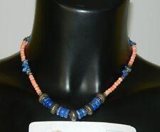 Collana in Corallo Rosa con frammenti di pietra Turchese blu e metallo OMA19