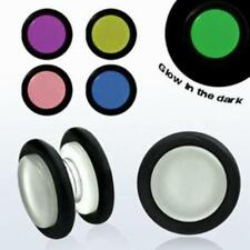 Pair Magnetic Acrylic Illusion Plug O-Rings Glow In The Dark Fake Gauge Cheater