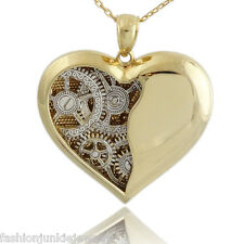 Ticking Clock Heart Necklace - Gold 925 Sterling Silver - Steampunk Heart Gears