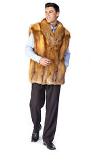 Mens Real Red Fox Fur Vest - Natural Fox Fur