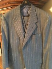 Oxxford 44R 3 Piece 100% Cashmere Suit Grey Chalk Stripe Side Vents Notch Lapel