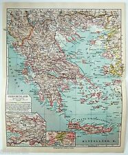 Original 1924 German Map of Greece