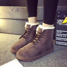 New Women's Warm Winter Comfortable Snow Boots Flat Lace Up Short Plush Boots