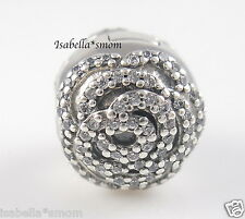 SHIMMERING ROSE CLIP 100% Genuine PANDORA Silver Charm with Cubic Zirconia