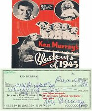 KEN MURRAY   AMERICAN TV FILM STAGE ACTOR  SIGNED BANK CHEQUE / CHECK 1968  RARE