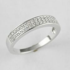 Womens  925 Sterling Silver CZ Micro Pave  Engagement Wedding Band 4mm Ring 7