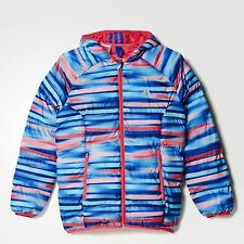 SIZE 7-8 YEARS OLD - ADIDAS PADDED AOP GIRLS HOODED BUBBLE JACKET - MULTI