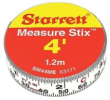Starrett Measure Stix SM44ME Steel White Measure Tape with Adhesive Backing, NEW