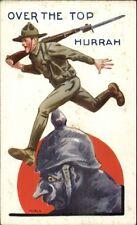 WWI Propaganda Bernhardt Wall Postcard gfz US SOLDIER WALKS ON HUN HELMET
