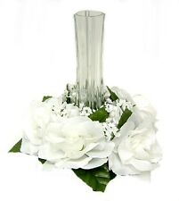 Candle Ring Rings ~ WHITE ~ Silk Wedding Flowers Centerpieces Unity Decoration