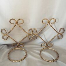 Outdoor plant hangers gold tone twisted metal Vintage
