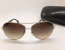 CHANEL 4195-Q c.395/3B GOLD BROWN Aviator Gradient Women Sunglasses RG27/22