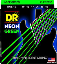 DR Strings NGE-10 Hi-Def Neon Green Coated Electric Guitar Strings 10-46 2 pack