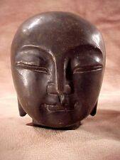 """Small Stone Head 3 1/2"""" Carved Black Bald Buddha Authentic Rock Sculpture #A5"""