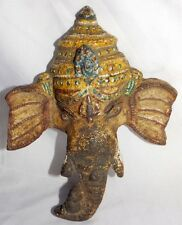 Old Indian Antique Hand Crafted Iron Hindu God Ganesha Head Colored Ganesha Face